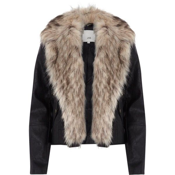 bf27d4258d2e9 Black faux fur trim biker jacket ( 105) ❤ liked on Polyvore featuring  outerwear