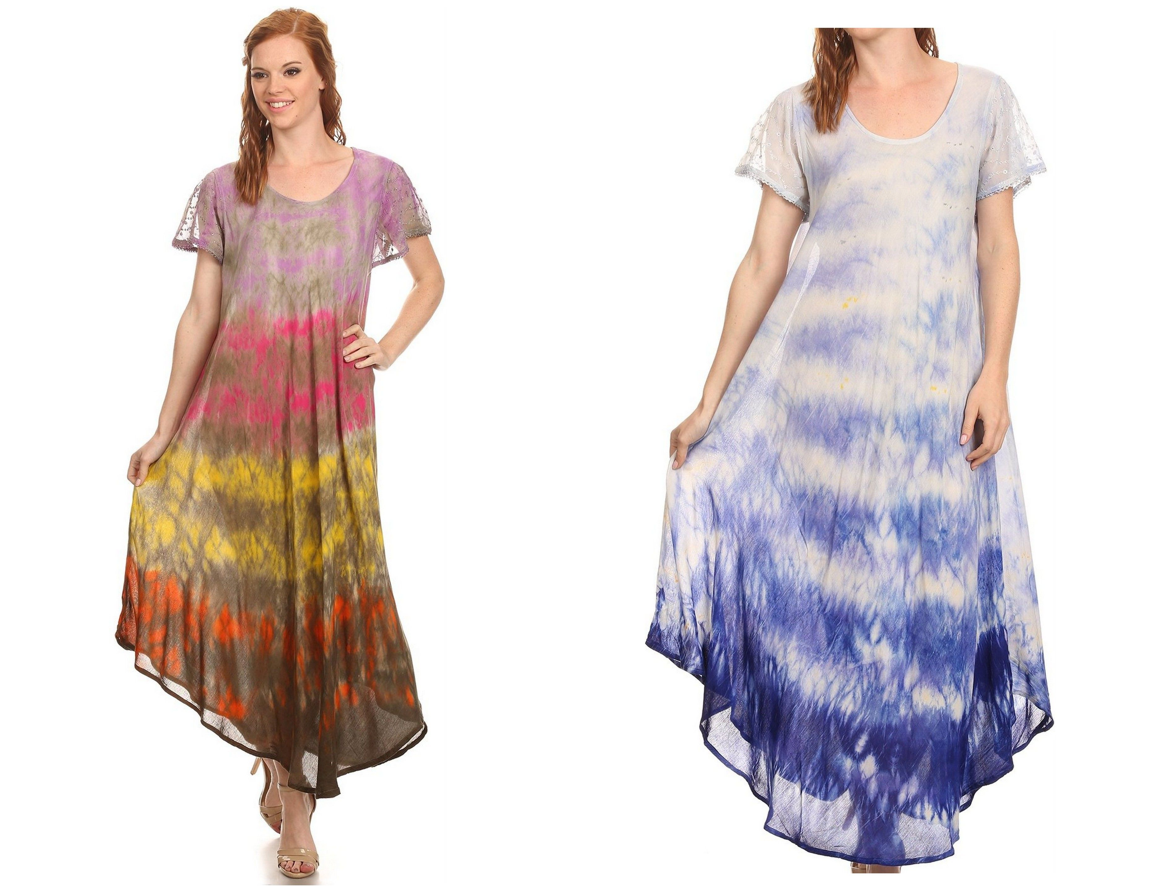 This dress is a gorgeous long tall dress. It is super lightweight and soft. Fabric is semi opaque to opaque. Long scoop neck, with embroidery lace cap sleeves with embroidered designs. The dress comes in a tie dye ombre washed look. Very colorful and fits wide and loose for the most elegant and flattering look! This dress is easily worn alone or as a coverup for warmer weather and trips to the beach! Just throw over beachwear.  #style #outfit #glam #shopping #dress #designer