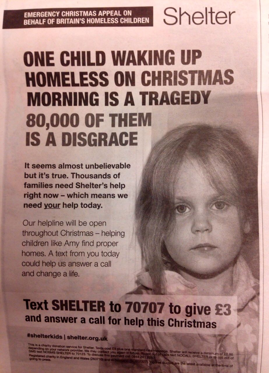 a print version of the ad we have seen by homeless charity