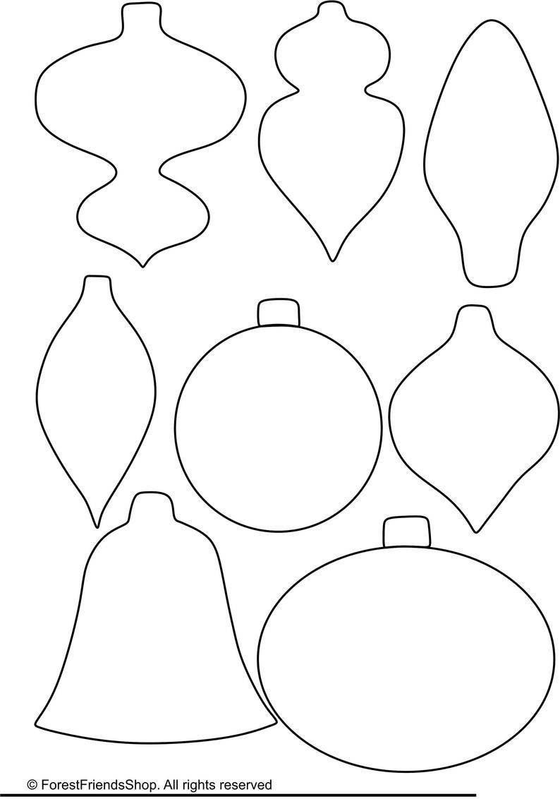 Christmas ornaments templates PDF Instant Download