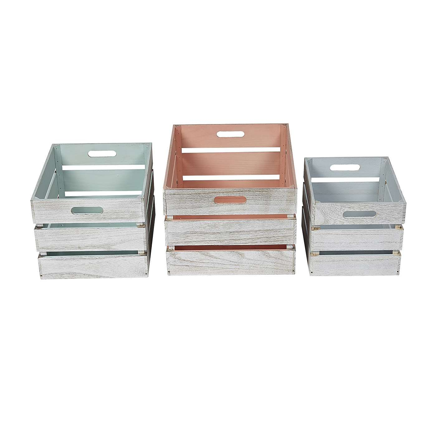 set of 3 painted wooden crates | dunelm | home decor