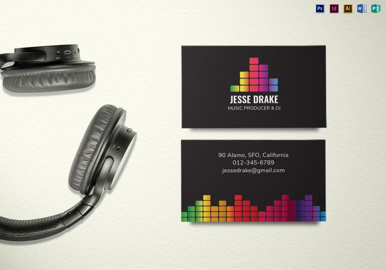 Music Producer And Dj Business Card Template Dj Business Cards Music Business Cards Free Business Card Templates