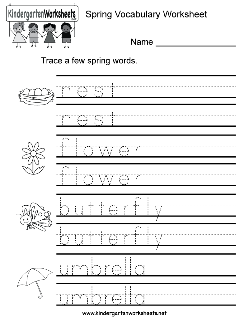 Spring vocabulary worksheet for kindergarten kids. Children will ...