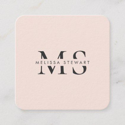 Elegant monogram modern blush pink rounded square business card   Zazzle com is part of Embossed business cards, Fashion business cards, Square business card, Zazzle business cards, Graphic design business card, Marketing business card - Elegant monogram modern blush pink rounded