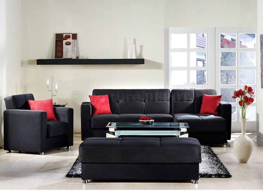 Elegant Convertible Sectional Sofa In Black Microfiber W Options