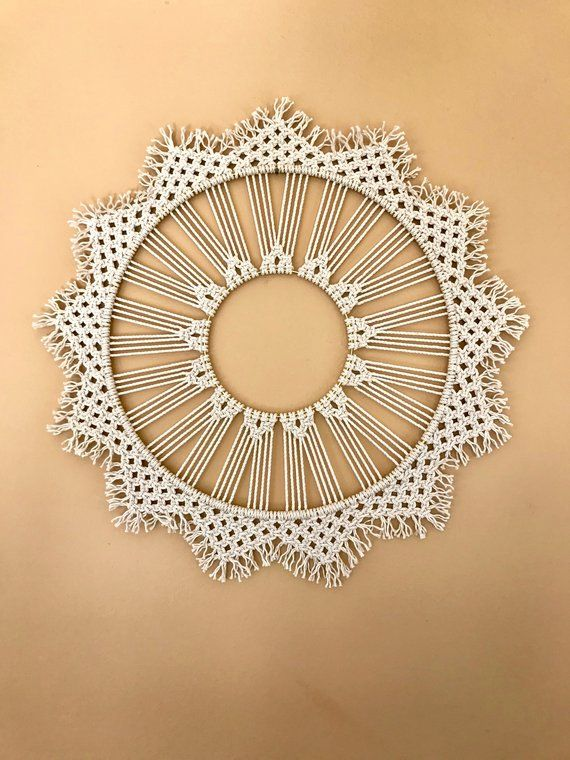 Macrame Wall Hanging Natural White Cotton Rope 14 Brass Ring