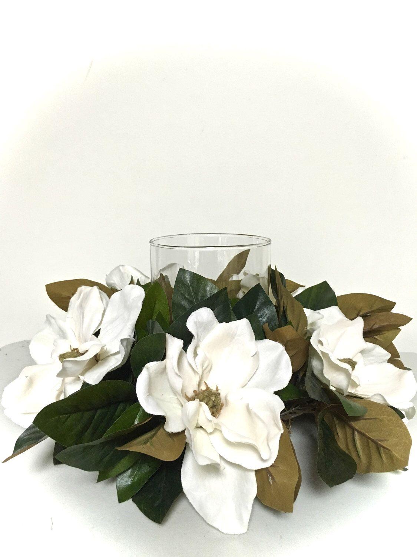 Timeless White Magnolia Centerpiece Magnolia Centerpiece Magnolia Wedding White Flower Arrangements