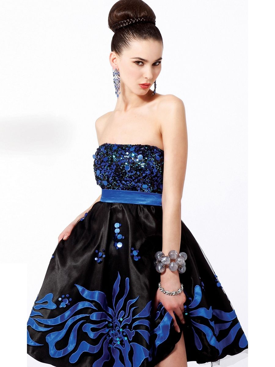Multicolor aline strapless sequined bodice and black printed satin