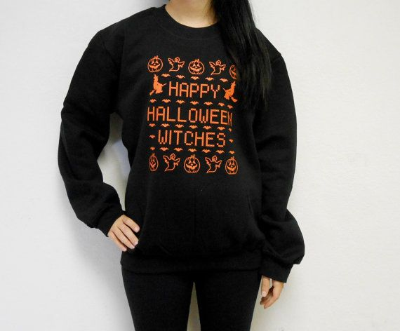unisex happy halloween witches crew neck fleece sweatshirt ugly halloween sweater happy halloween witches on etsy 3763 cad
