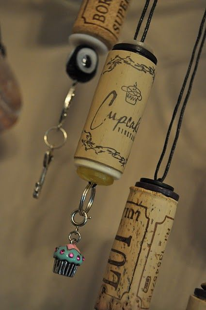 Wine Cork Ornaments. these would be cute with different colors for xmas decos