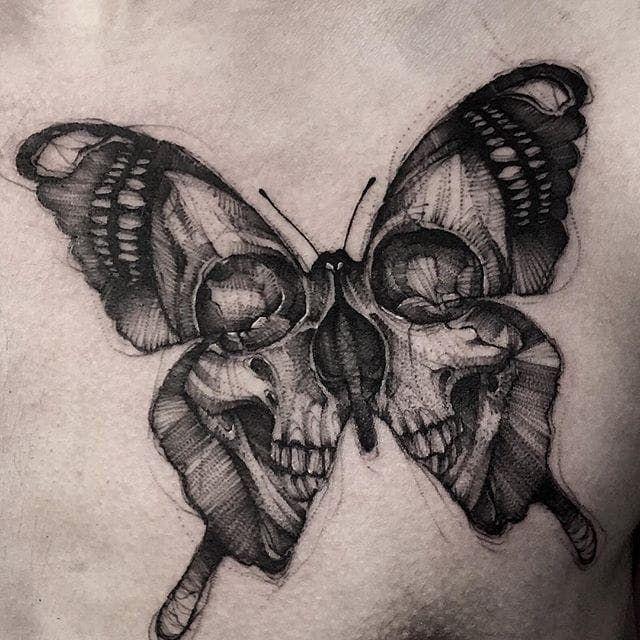 Photo of Papillon crâne noir et gris intense (IG-bk_tattooer). #Noir et gris … #gr …