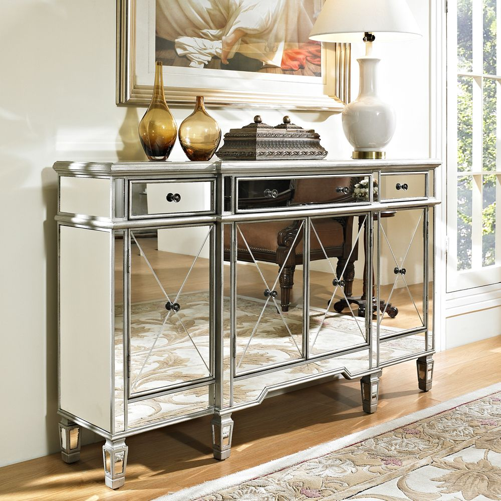 Powell Mirrored 3 Drawer 4 Door Console Beyond Stores