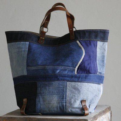 Grand sac en patchwork de toilesde jean