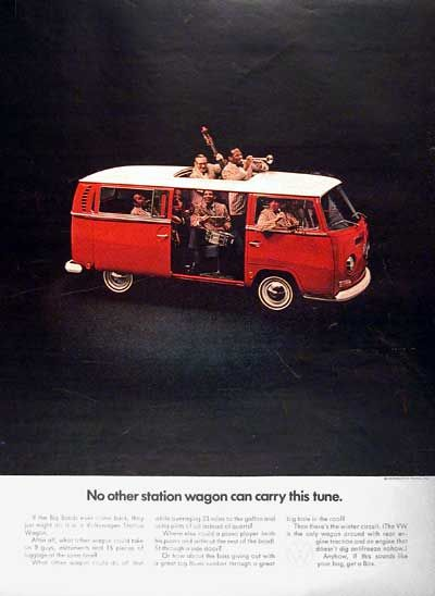1969 Volkswagen VW Station Wagon Bus vintage ad. No other station wagon can carry this tune.