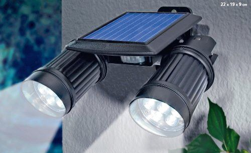 Solar Powered Security Two Super Bright Spotlight Motion
