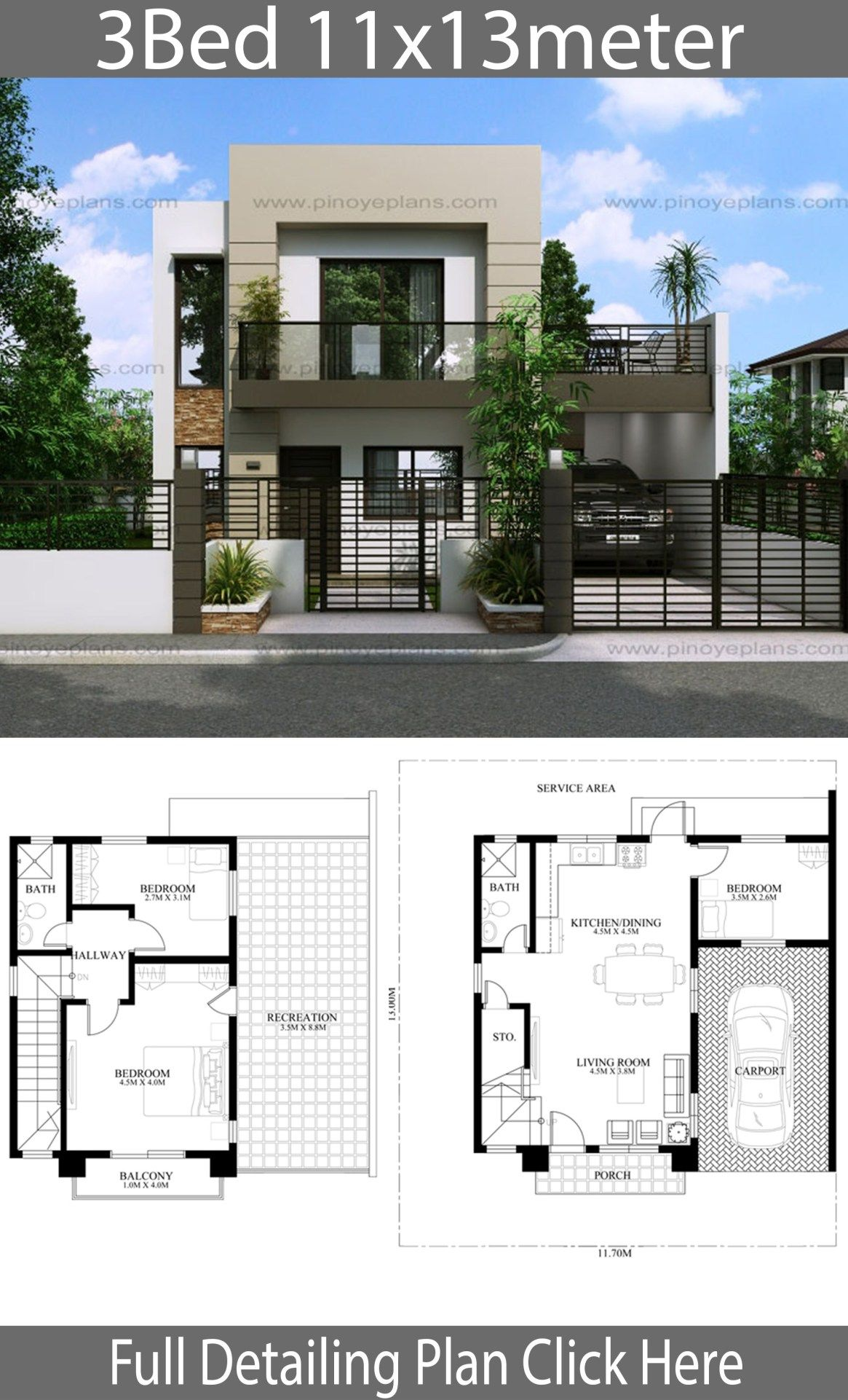 House Design 11x13m With 3 Bedrooms Home Design With Plansearch Philippines House Design Home Design Floor Plans Duplex House Design