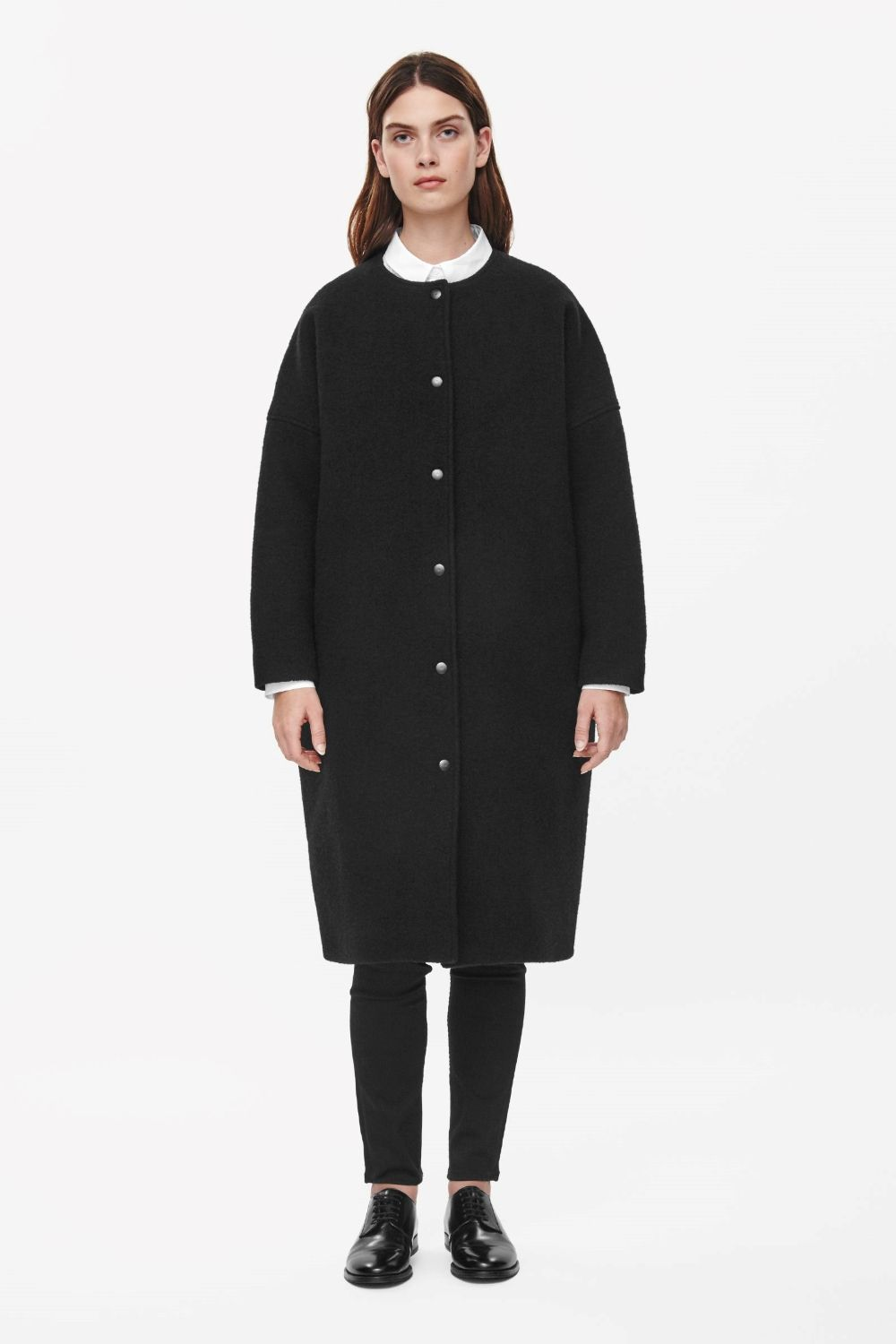 Collarless press stud coat - Black - All Articles - COS DE | Coats ...