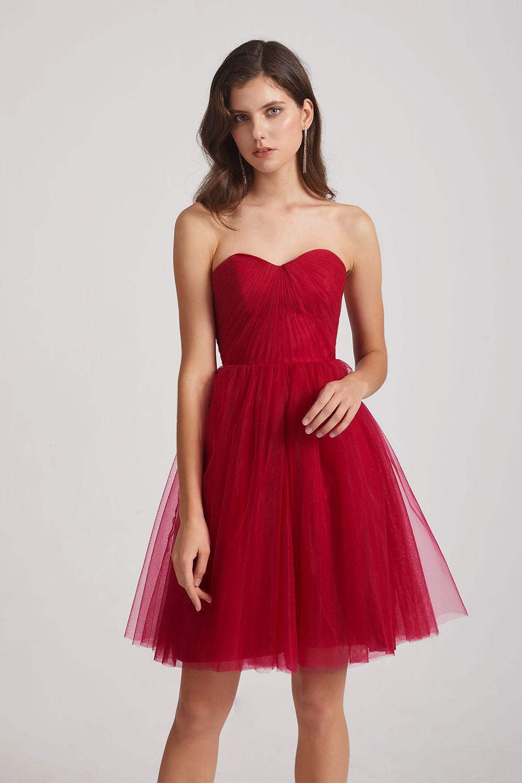 red tulle dress short