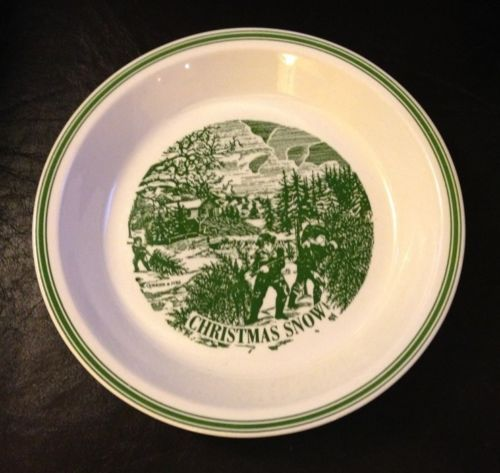 Christmas Snow Pie Plate 10  Dish Currier u0026 Ives Green White MINT Royal China & Christmas Snow Pie Plate 10