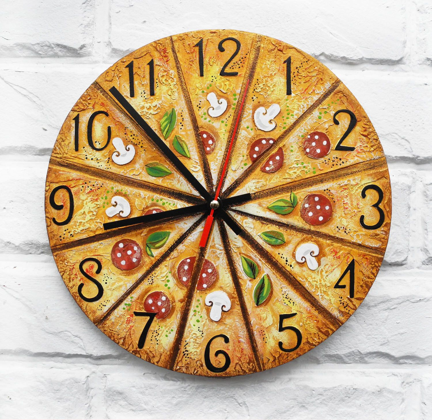 The Pizza, Italy dreams, Modern wall clock with numbers, White wall ...