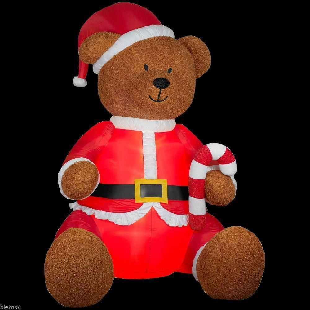 Gemmy inflatable airblown reindeer outdoor christmas decoration lowe - Huge 9 Foot Christmas Teddy Bear Airblown Inflatable Santa Outfit Yard Decor New Gemmy