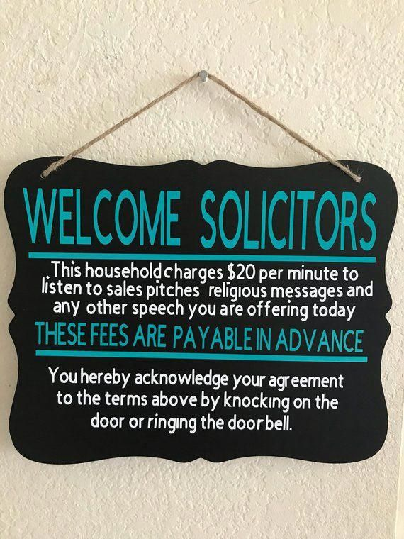 Funny No Soliciting Sign Solicitors Welcome Door sign Front #HomeAccents #nosolicitingsignfunny