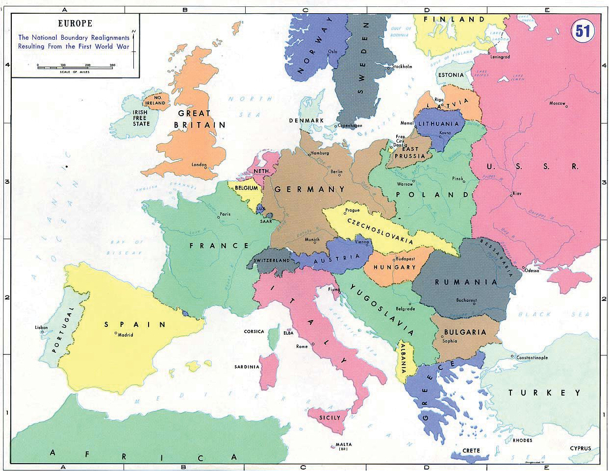 Map Of Europe After The Treaty Of Versailles The Treaty Of