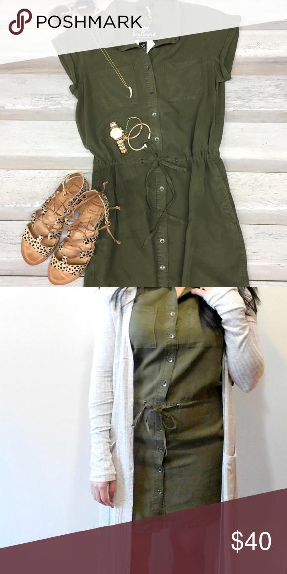 7bfdef45c29 NWT Velvet Heart Olive Green Tencel Dress Short Sleeve Button Down  Shirtdress Drawstring Drop Waist