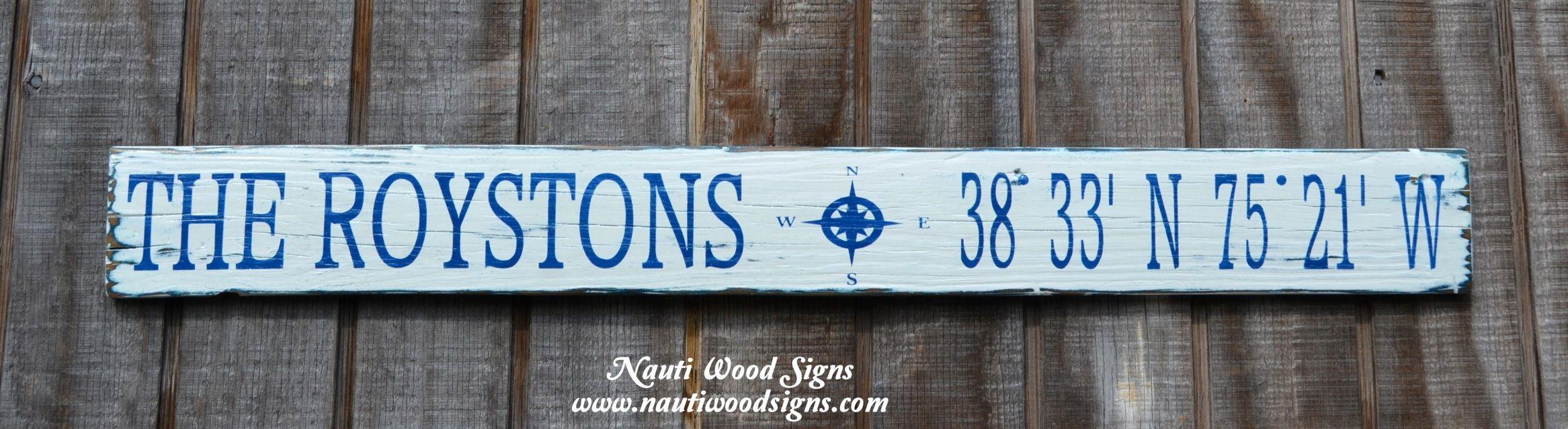Beach Decor, Beach Signs, Family Name Wooden Signs, Latitude ...