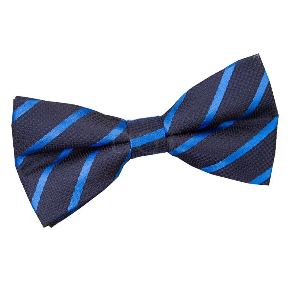 d08cc623a160 Navy & Mid Blue Single Stripe Pre-Tied Bow Tie   Men's Bows   Tie ...