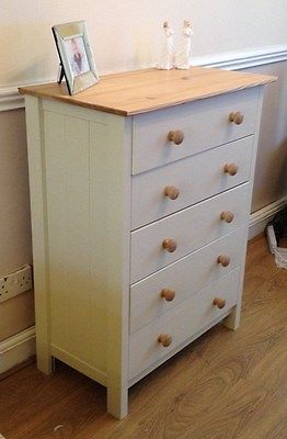 Solid Pine Shabby Chic Chest Of Drawers Farrow Ball Ebay