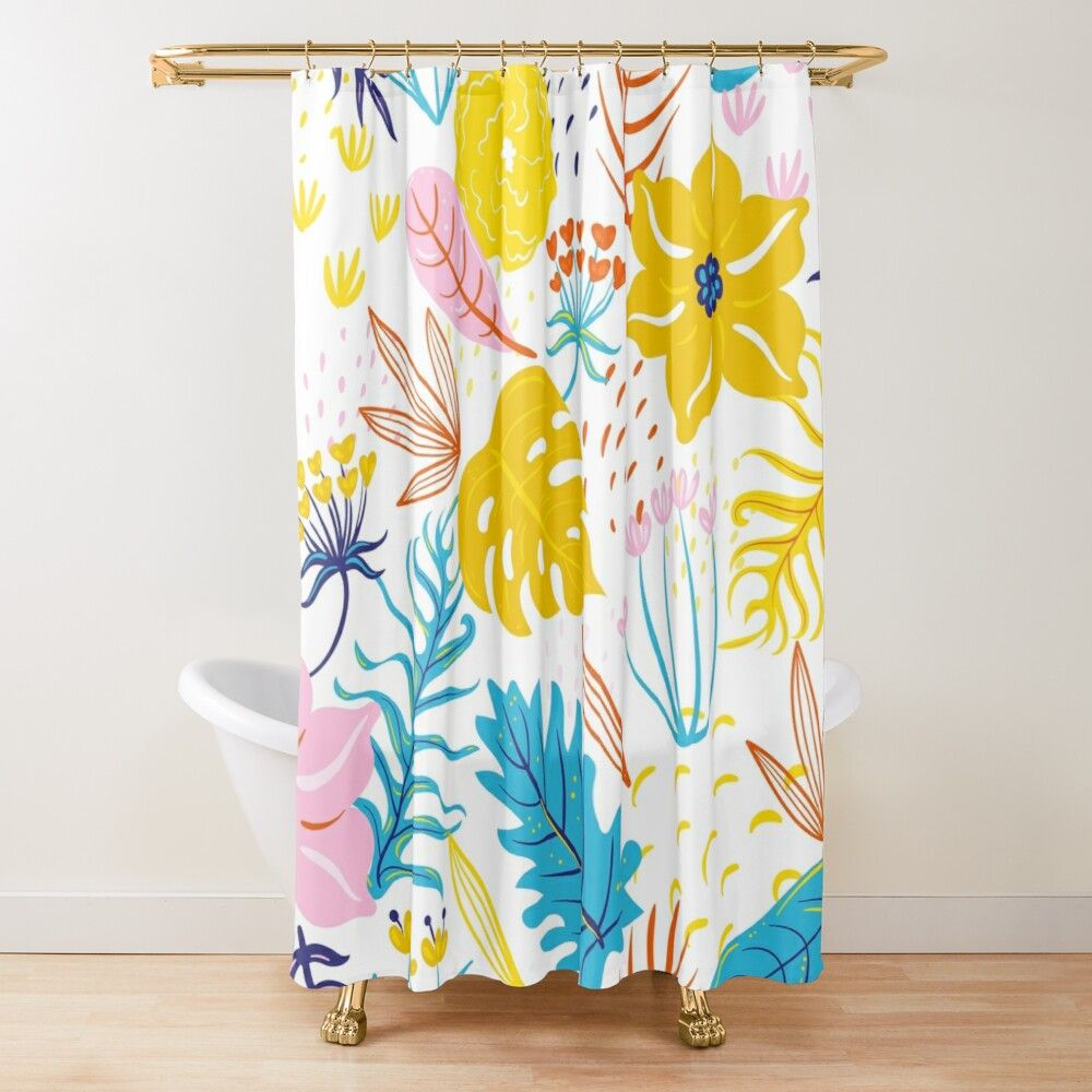 get my art printed on awesome products support me at redbubble rbandme https www redbubble com i shower c in 2021 patterned shower curtain floral pattern curtains