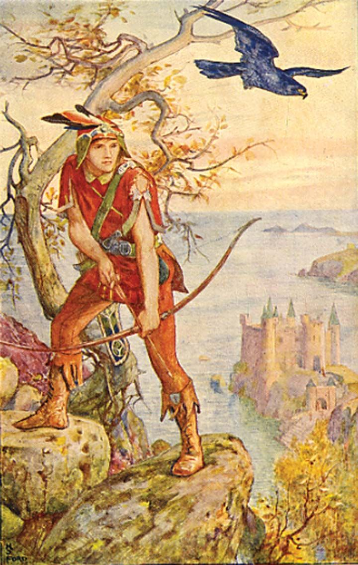 Ian And The Blue Falcon - The Orange Fairy Book by Andrew Lang, 1906