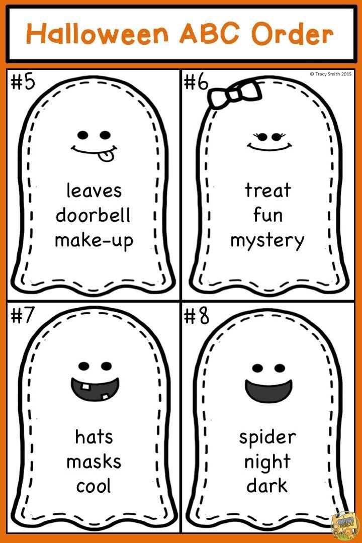 Halloween ABC Order - ELA Task Cards! Ghost Themed   TpT Language ...