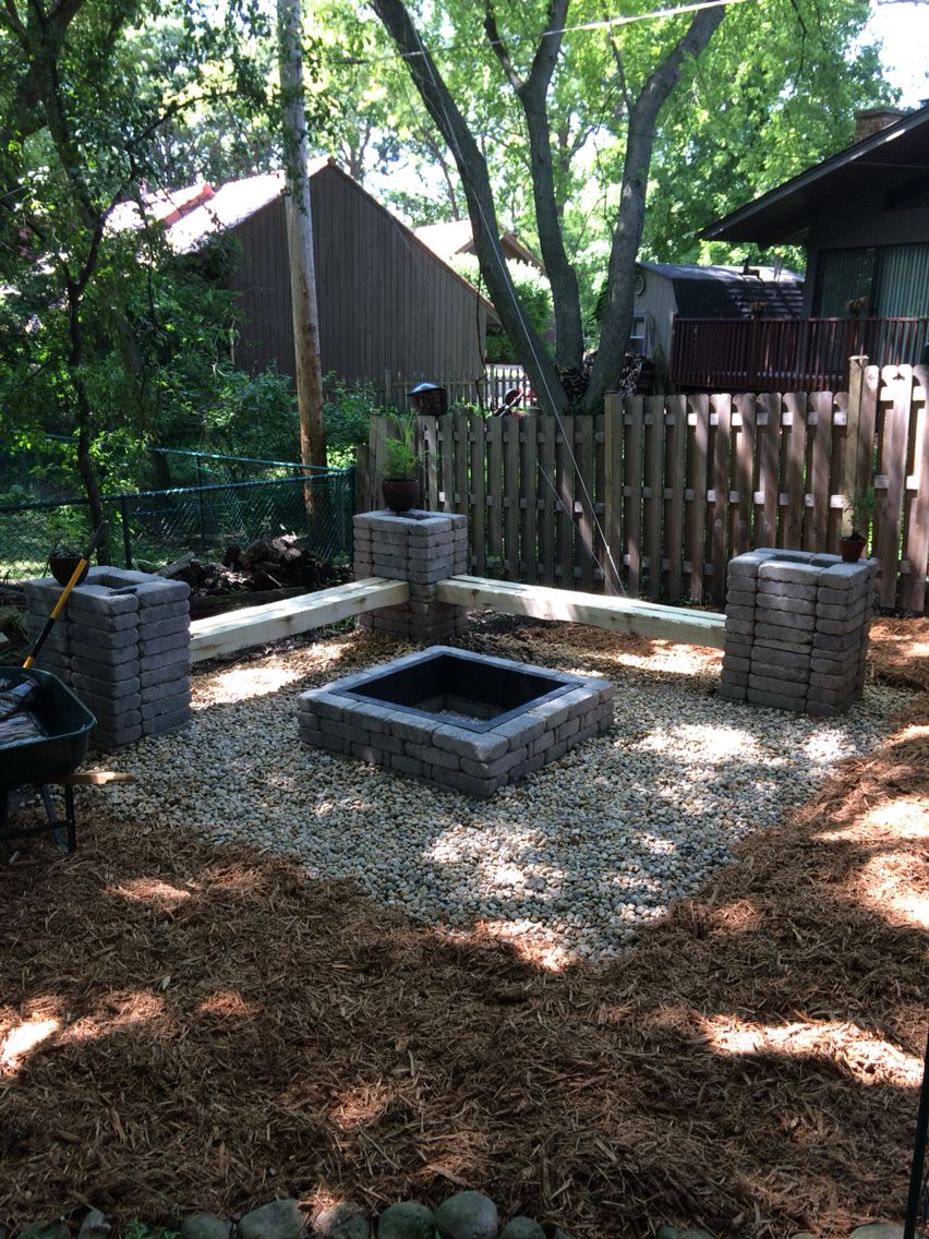 Diy Backyard Fire Pit I Designed The Belgian Stone Towers With 6 X6 X10 Boards For Benches Natural Gas Fire Pit Fire Pit Backyard Outdoor Fireplace Designs