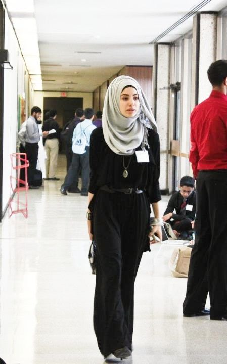 Looking for inspiration on how to dress in the workplace with a hijab and this fits the bill
