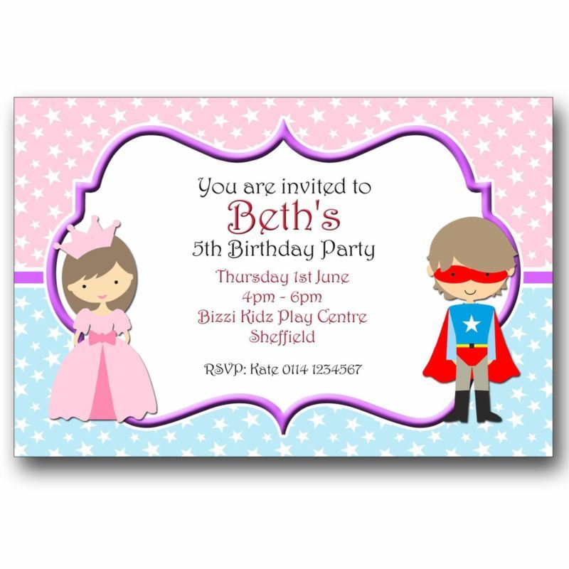 10 Personalised Birthday Invitations Princess and Superhero Fancy ...