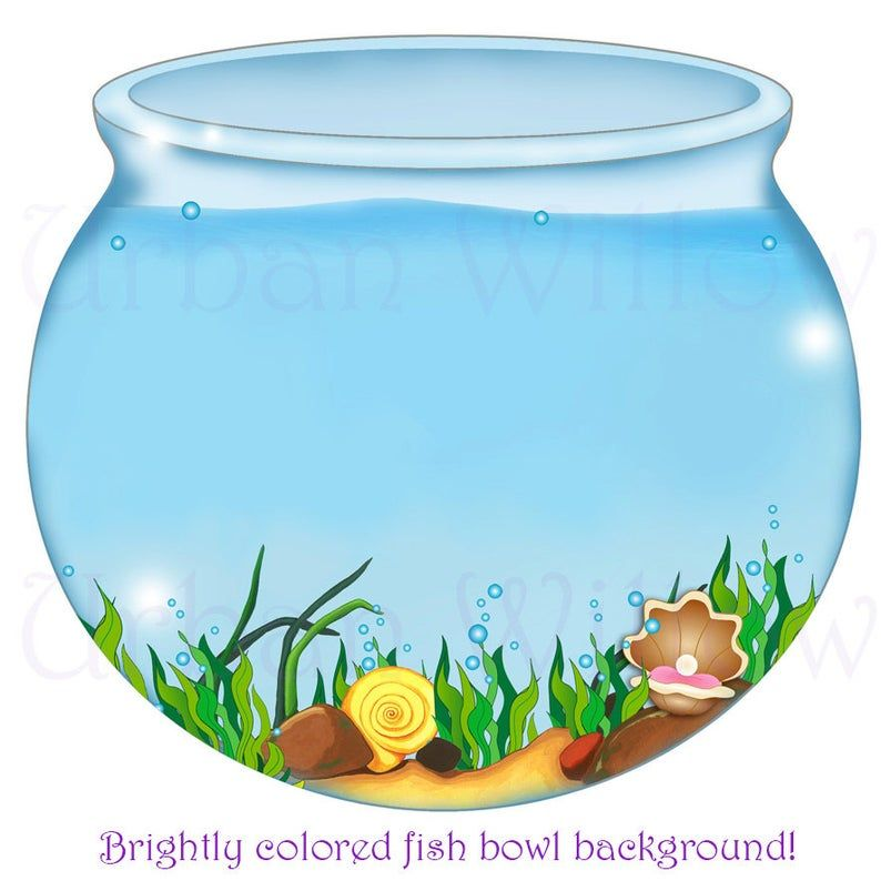 Fish Bowl Image Digital Backgrounds Mermaid Clipart Digital Scrapbook Images Clipart Seaweed Clipart Seashells Clipart Water Bowl Image Scrapbook Images Digital Backgrounds