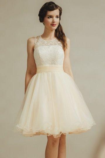 1384b971b73 Mini robe cortège mariage jaune pastel col ronde haut appliqué ...