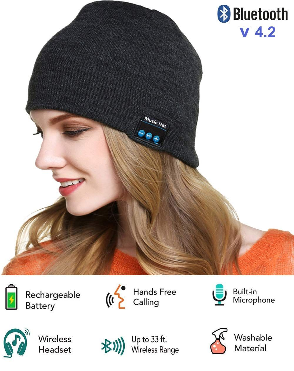 958d87020520f Winter Bluetooth Beanie Hat Unisex 4.1 Wireless Smart Musical Headphone  Speaker Beanies HandsFree Knit Cap Headset