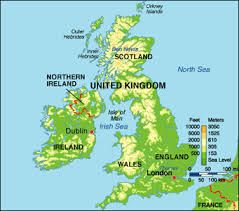 Topographical Map Of British Isles British Isles England