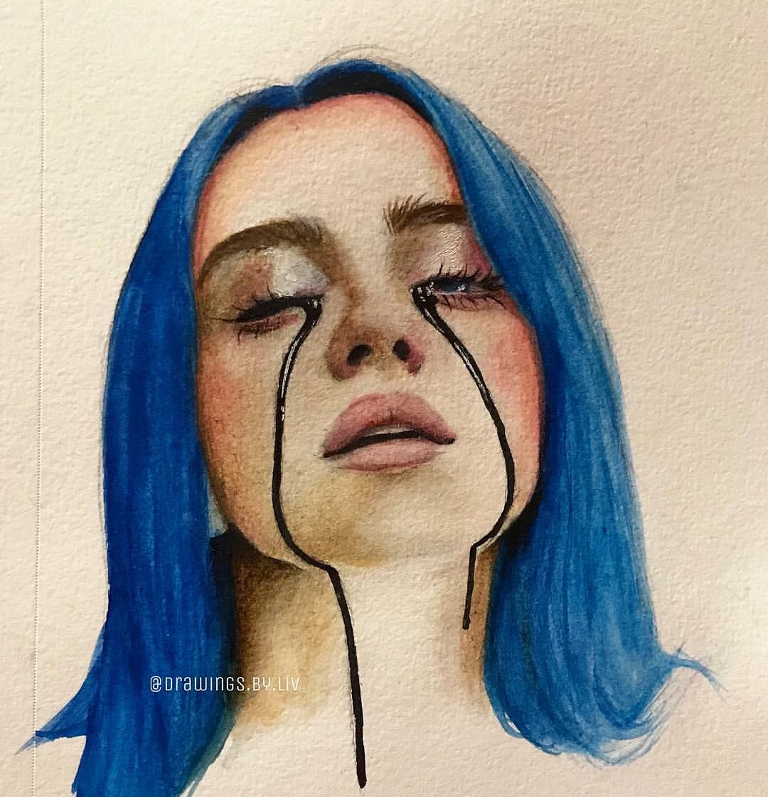 "liv on Instagram: ""i'll call u when the party's over 🖤🖤🖤🖤 @wherearetheavocados . . . . . . . . . . . . . . . . #billieeilish #billie #illustration…"""
