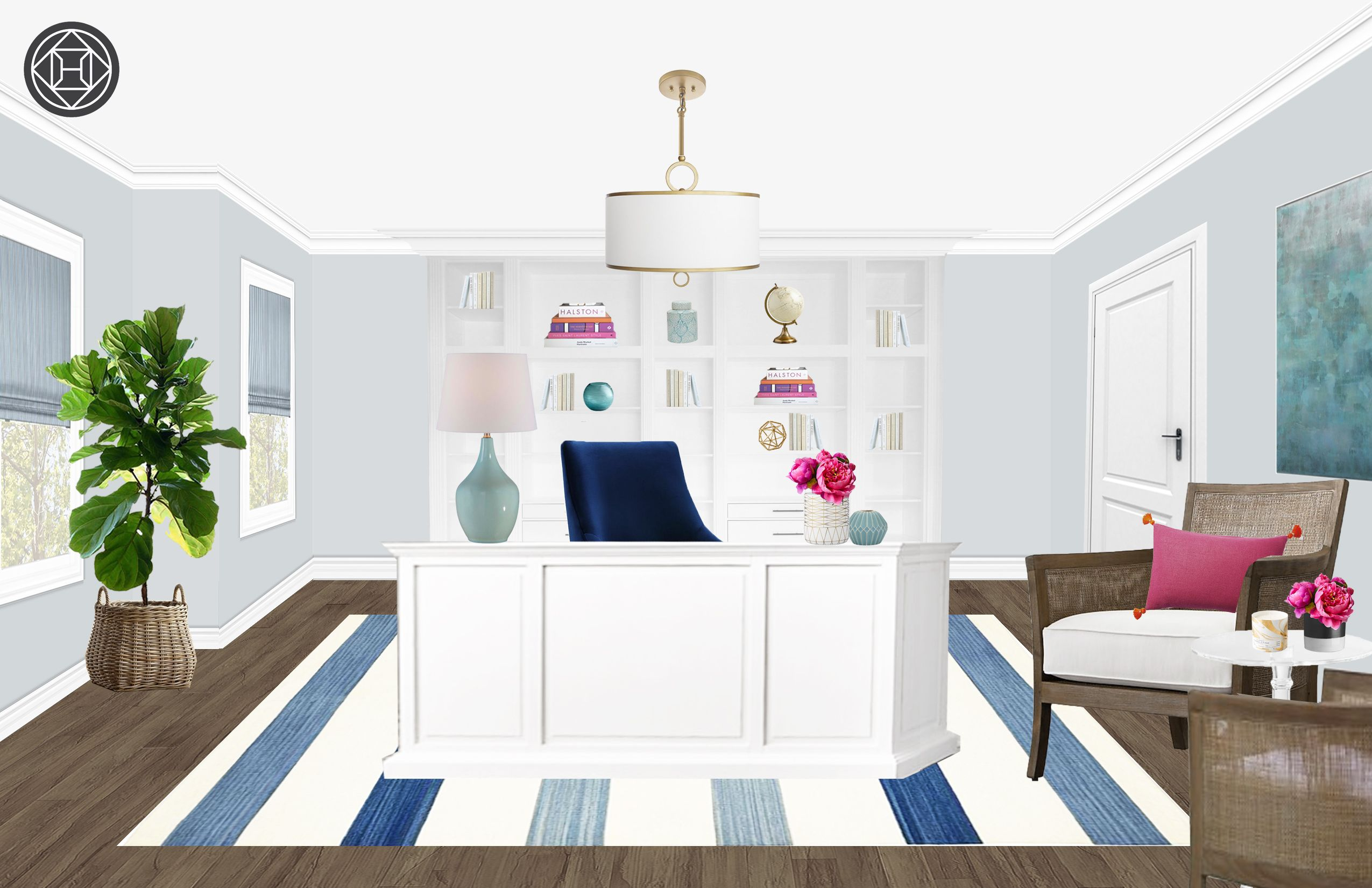 Coastal, Transitional, Preppy Office Design by Havenly Interior ...