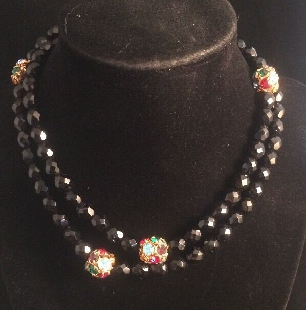 Nos Bohemian Glass Jet Bead Necklace With Colored Rhinestone Spacers
