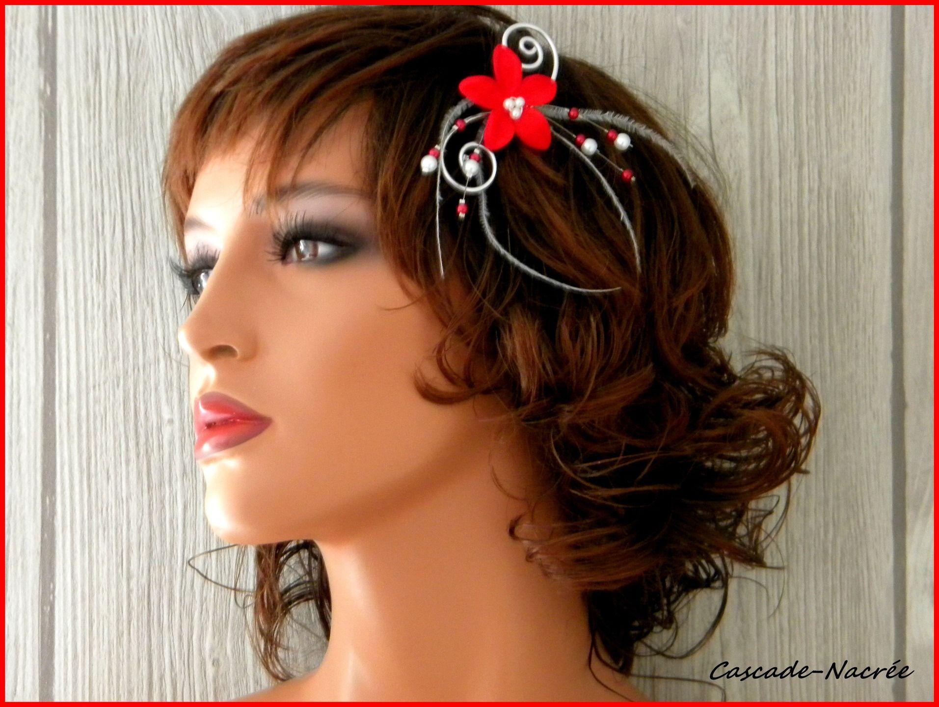 bijou de cheveux pic rouge blanc plume mariage mariée fleurs de soie alu   Accessoires coiffure