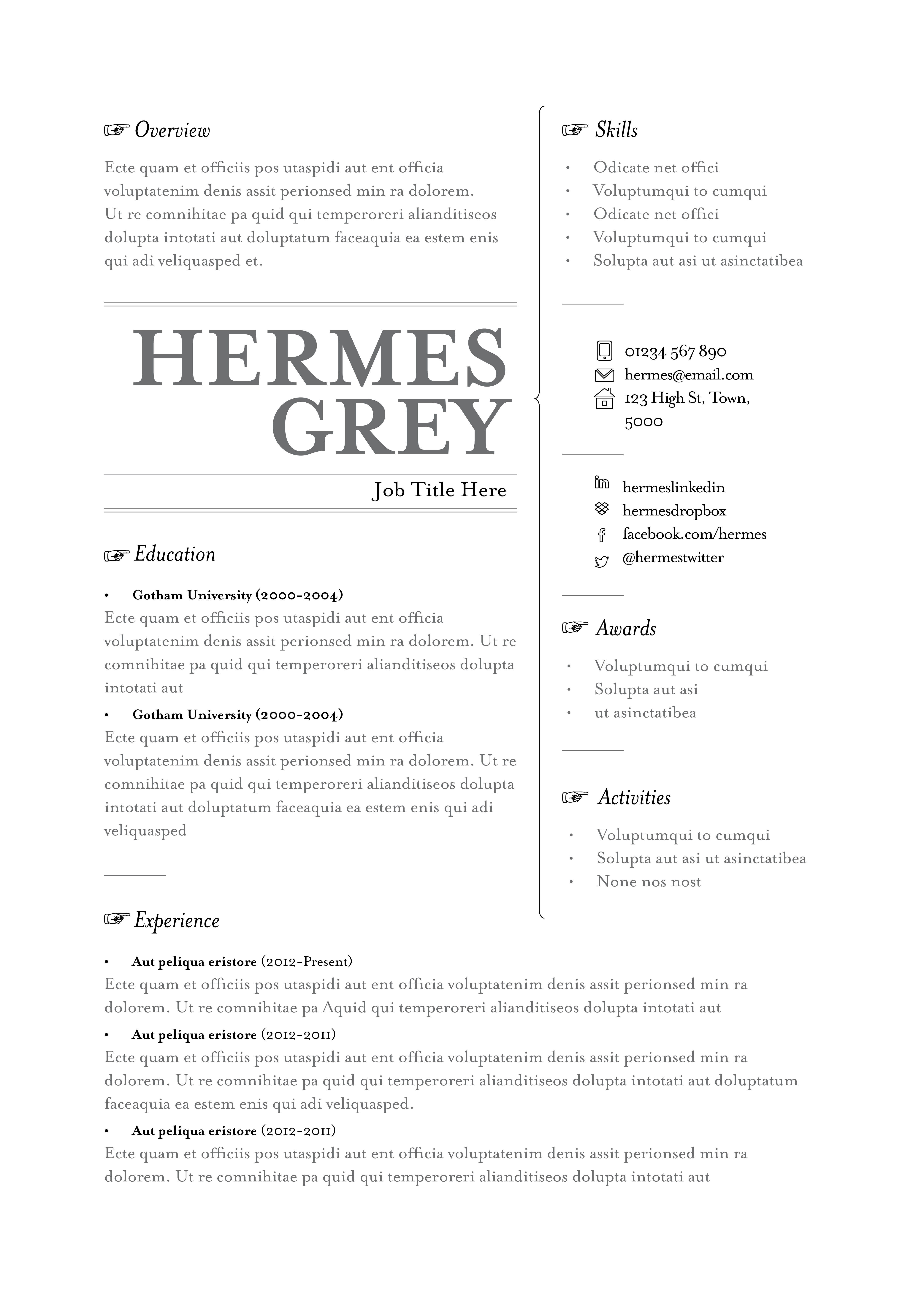 Our Hermes resume template. Available in grey, black and