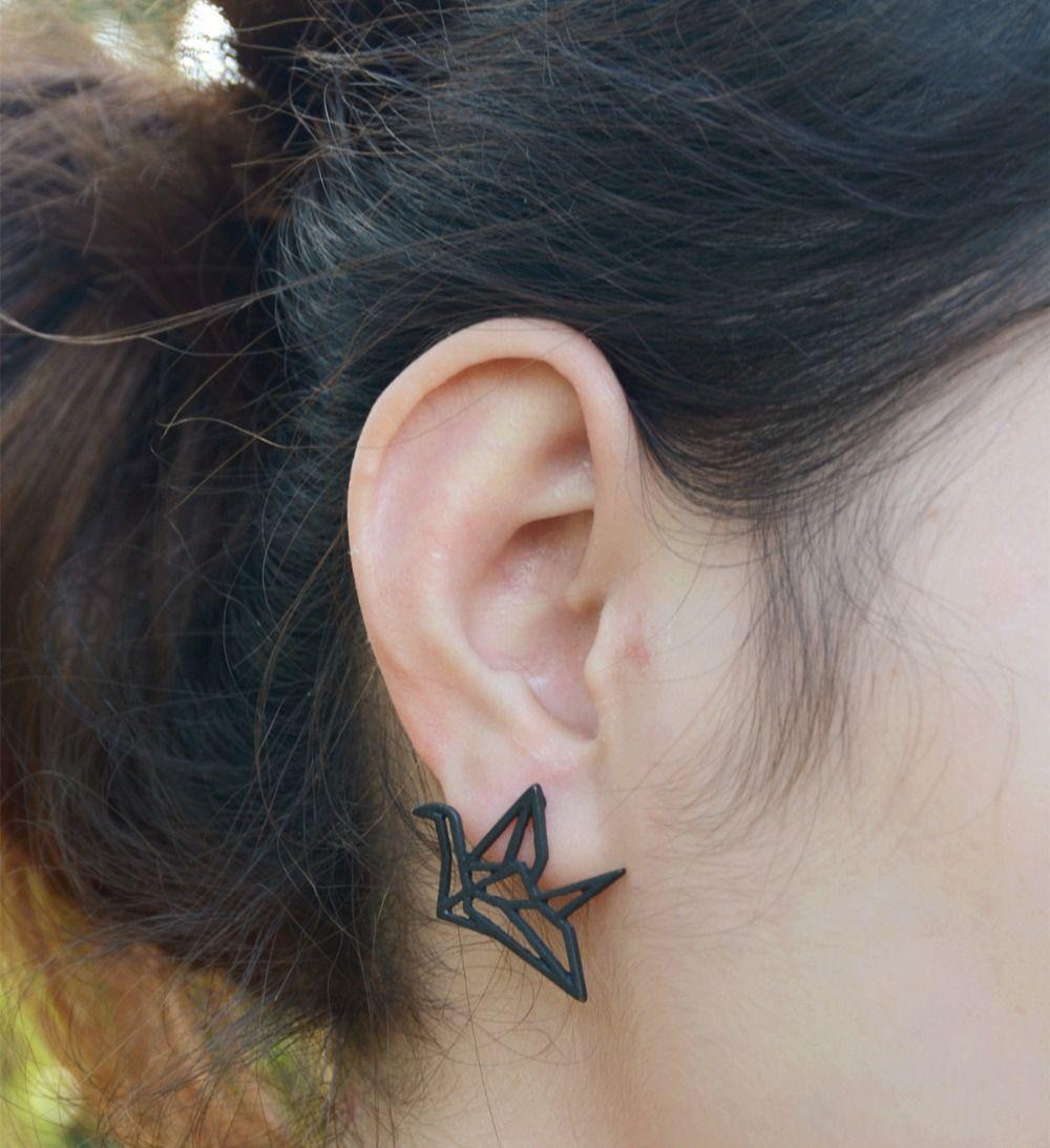 Best nose piercing jewelry  New Design Geometric Hollow origami Paper Cranes Stud Earrings Men