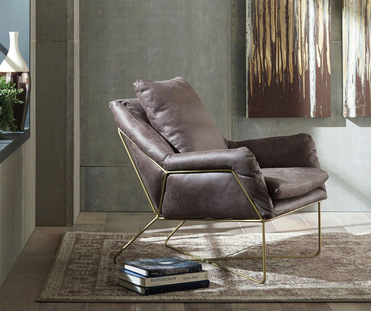 Best Ashley Crosshaven Dark Gray Accent Chair Leather Accent 400 x 300