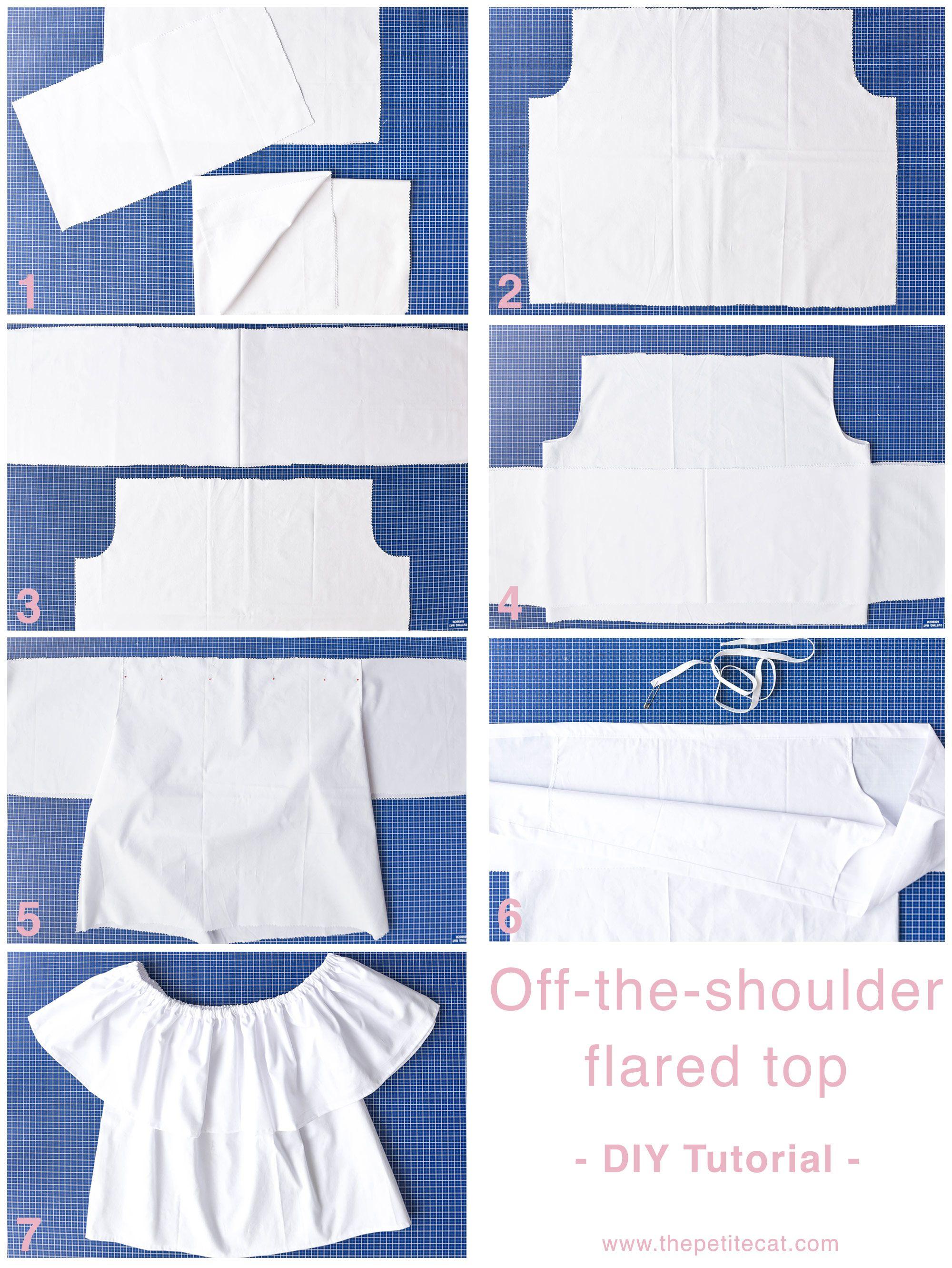 Diy Tutorial Off The Shoulder Top And Dress Thepetitecat Project2 Dress Patterns Diy Diy Dress Diy Fashion Clothing