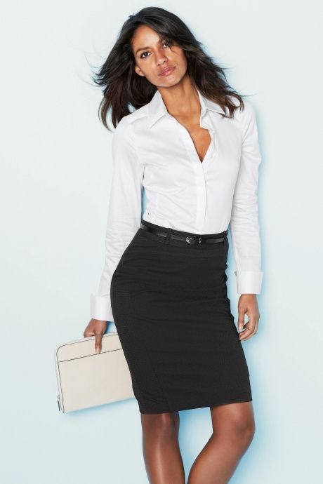 elegant office white shirt pencil skirt white bag next